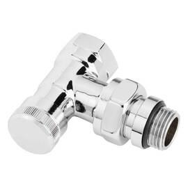 Клапан RLV-15 CX, угловой, хромированный, для бокового присоединения двухтрубной системы отопления., фото