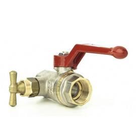 Кран шаровой полнопрох. BVR-D c в/р Ду 15, Ру 40, латунь, со спускным элементом и заглушкой, фото