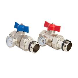 """Шаровые краны с термометром для коллектора (комплект 2 штуки) 1"""" PN 16  MC.312.06, фото"""