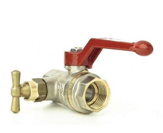 Кран шаровой полнопрох. BVR-D c в/р Ду 20, Ру 40, латунь, со спускным элементом и заглушкой, фото